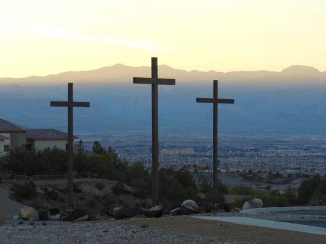 Three crosses in the front of New Song Church in Henderson