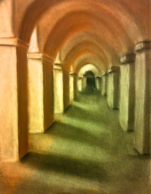 Church hallway that I did in charcoal